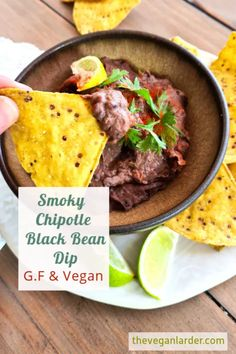 A super easy Black Bean Dip using only 4 ingredients! Delicious and smoky from the chipotle paste and perfect for snacking. Make this vegan dip recipe in just minutes!