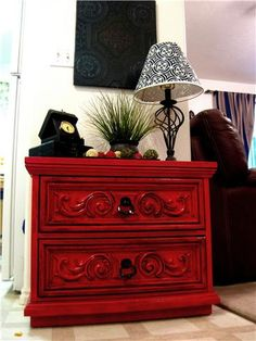 Cherry red krylon, black glaze, polyacrylic