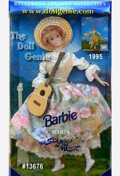 Capture the Sound of Music as Barbie portrays the wonderful heroine from one of the most beloved movies of all time. Its an authentic reproduction taken right from the film. Barbie doll is dressed in a demure jumper with a floral printed brocade skirt, complete with alpine glitter. Just like Maria in the movie, rnBarbie wears short, cropped hair. She has a simple straw hat atop her head and even carries a miniature guitar. From her big blue eyes to beautiful smile, Barbie as Maria is utterly…