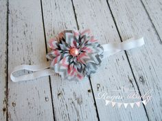 "Gray Pink & White Chevron Headband -  Photo Prop - Newborn Infant Baby Toddler Girls Adult 3/8"" elastic"
