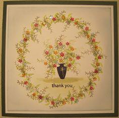 Thank You Nog een kaartje met een setje van Rubber Stamp Tapestry. Dit setje heet: Yumy's Garden. Ik heb totaal andere kleuren gebrui...