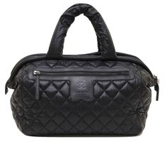 Chanel Black Coco Cocoon Quilted Nylon BOSTON Bag Tote Silver Leather  DoPEEK!  CHANEL   59e9209751890