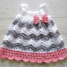 This is a very pretty premium crochet pattern: Chevron Dress Featured on CrochetSquare.com