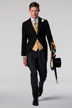Royal Ascot Dress Code - So what you need is a black Morning Coat that fits neatly with the tails hanging to just above the back of the knee, a buff waistcoat, single or double-breasted making sure that there is no gap between waistcoat & waistband of the trousers. Formal Dress is not Fancy Dress so avoid garish waistcoats. The trousers should be dark grey/black striped which taper to a narrow bottom breaking once only onto black Oxford shoes. White cut-away collars with double cuffs look…