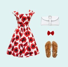 Red Fl Summer Outfit Clothes White Day Sundress With And Black Flowers