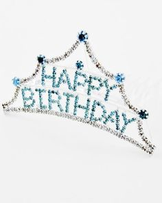 TIARA - HAPPY BIRTHDAY TIARA COMB - SILVER & BLUE RHINESTONE HAPPY BIRTHDAY COMB #Tiara