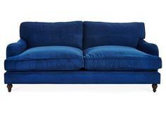 Sherlock Velvet Sofa, Royal Blue