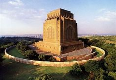 The Voortrekker Monument in Pretoria, South Africa: Little House on the Prairie meets colonial violence meets monumental fascist-esque architecture. Very special to the Afrikaner people Pretoria, Zimbabwe, Monuments, Namibia, Port Elizabeth, Kruger National Park, To Infinity And Beyond, African History, African Art