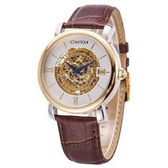 COMTEX Mens Mechanical Skeleton Watch With Brown Leather Strap -- You can get more details by clicking on the image. (Note:Amazon affiliate link)