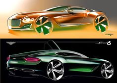 Bentley Exp10 Speed 6 sketches by Exterior designer John Paul Gregory (up) and Xavier Dumontier