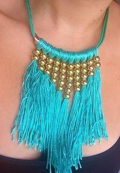 Blue Statement Neckl Blue Statement Necklace - My Glam Styles - 1 Thread Jewellery, Tassel Jewelry, Textile Jewelry, Fabric Jewelry, Statement Jewelry, Beaded Jewelry, Jewelery, Handmade Jewelry, Jewellery Diy