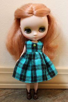 BLYTHE Middie doll Its my party dress  teal & by TiredMomKnits