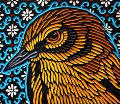 LISA  BRAWN   WOODCUT           prairie warbler