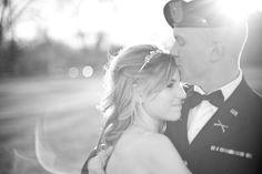 Beautiful wedding photo pose. National guard uniform.