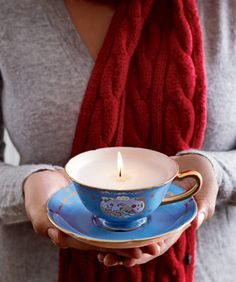 Teacup Candle:  This reminds me of something you'd find in Anthropologie at a fraction of the cost.  You can often find cute teacups at second hand stores like Goodwill.  The easiest tutorial I've found is here at Maedae.