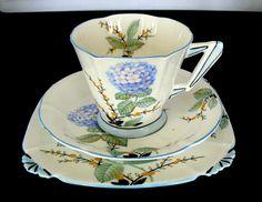 Royal Albert Crown China England Art Deco shape Hydrangea