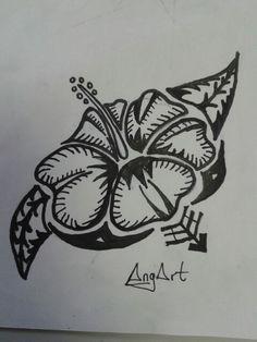Tatoo flor hawaiana Patch Hawaii, Patches, Arabic Calligraphy, Drawings, Art, Flower, Tatoo, Tutorials, Illustrations