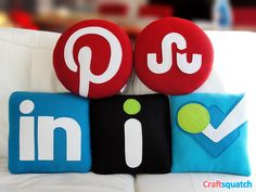 Social Media Pillows by Craftsquatch on Etsy Pillow Crafts, Side Sleeper Pillow, Gadgets, Social Media Icons, Funny Cat Pictures, Organizing Your Home, Fabric Scraps, Christmas Presents, Pillows