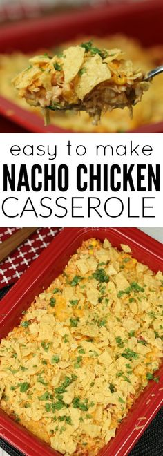 You will love this easy nacho chicken casserole recipe. With rice, chicken, salsa and cheese this chicken nacho casserole will satisfy your tastebuds! Try this easy casserole recipe today!