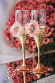 Rose Gold Wedding Glasses Engraved Champagne Flutes Blush