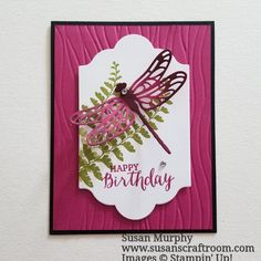 Susan's Craft Room Stampin' Up! Dragonfly Dreams in Berry Bliss & Black. Tutorial on the blog at www.susanscraftroom.com