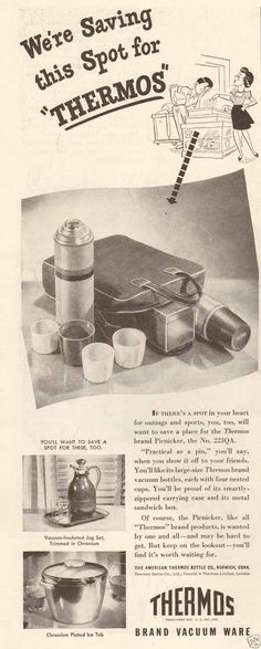 Original vintage print advertisement for Thermos Vacuum Ware with Picnicker lunch box set, chromium jug and ice tub shown. Original vintage print advertisement, not a reproduction.