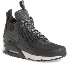 Nike 'Air Max 90 Winter' Sneaker Boot (Men), Built for cold weather, this on-point sneaker-boot features hot retro style and sporty appeal in spades. Mens Winter Dress Boots, Best Winter Boots, Mens Snow Boots, Winter Fashion Boots, Nike Casual Shoes, Black Nike Sneakers, Winter Sneakers, Nike Air Max Mens, Cheap Nike Air Max