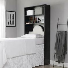 "Latitude Run Nordland 85.9"" H x 41.8"" W Over Bed Shelving Unit   Wayfair Dorm Room Shelves, Headboard With Shelves, Bed Shelves, Dorm Room Walls, Bedroom Wall, Shelving, Dorm Furniture, Bedroom Furniture Stores, Furniture Deals"