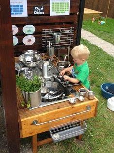 20 Kids Mud Kitchen Ideas for Your Garden Patio & Outdoor Furniture Kids Outdoor Play, Outdoor Play Spaces, Backyard Play, Outdoor Playground, Outdoor Learning, Outdoor Fun, Mud Kitchen For Kids, Kitchen Ideas, Pie Kitchen