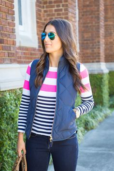 lilly pulitzer, stripe sweater, quilted vest, puffer vest, cognac booties, fall fashion // grace wainwright from a southern drawl