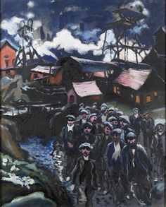Ludwig Meidner (Germany, 1884-1966). Miners, 1912. Oil on canvas. Fled to England in  1933 to escape Nazis, returned to Germany in 1953.