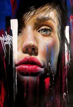 """No Surprises"" - Adnate, graffiti artist {beautiful female head face portrait painting} Mesmerizing ! Graffiti Murals, Murals Street Art, 3d Street Art, Street Art Graffiti, Street Artists, Banksy, Arte Dope, Dope Art, Amazing Street Art"