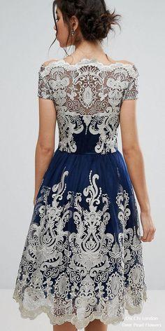 Premium Metallic Lace Midi Prom Dress with Bardot Neck 7664343-2 #weddings #dresses #weddingideas ❤️ http://www.deerpearlflowers.com/wedding-guest-dresses/