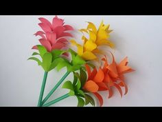 Not origami but still a paper flower---DIY: Paper Flower! How to Make Beautiful Paper Flower Stick With Colour Paper! Paper Flowers Craft, How To Make Paper Flowers, Crepe Paper Flowers, Flower Crafts, Diy Flowers, Colour Paper Craft, Flower Paper, Flower Diy, Flower Wall