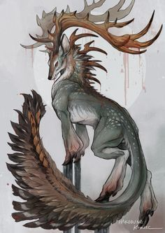 monster art animal deer mythical creature I grouped the aforementioned questions in regards to the pencil drawing that I received … Mythical Creatures Art, Mystical Animals, Mythological Creatures, Magical Creatures, Mystical Creatures Drawings, Cute Fantasy Creatures, Creature Concept Art, Creature Design, Creature Drawings