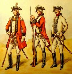 Queen's Regiment. From left to right:junior officer, 1775 serial., NCO in kollet 1878. Fig. B. Gembarzewski.