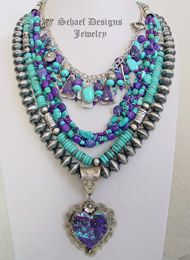 Schaef Designs Purple Turquoise & Sterling Silver Necklace Pairings | New Mexico
