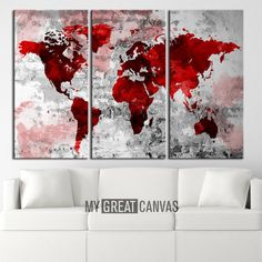 Canvas Print WORLD MAP Watercolor Art Print Work   by EDecorShop
