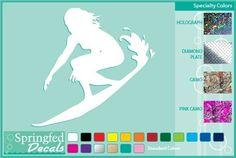SURFER GIRL SILHOUETTE Cut Vinyl Decal #1 Car Truck Surfing Sticker CUSTOM SIZES #SpringfedDecals