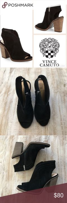 Vince Camuto Koral Open Toe Bootie {Black} sz 9 Back by popular demand! Best seller! The Koral by Vince Camuto features perforations around the top line of the black suede upper/sling back strap. Side zip closure, Open Toe, 4 in stacked heel. Dept store closeout/customer return-prob worn once. Look brand new. 🚫no trades, low offers not accepted. Vince Camuto Shoes Ankle Boots & Booties
