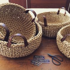 Crochet basket 467670742556349163 - Introduce natural elements into your home with these stunning baskets. The baskets are hand crocheted using a thick bulky jute and features handcrafted leather Source by famillestl Crochet Scarf Easy, Crochet Pouf, Crochet Motifs, Chunky Crochet, Crochet Pillow, Hand Crochet, Crochet Baby, Left Handed Crochet, Crochet Basket Pattern