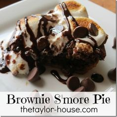 Chocolate Dessert Recipes http://www.thetaylor-house.com/chocolate-pie-recipe-brownie-smore-pie/