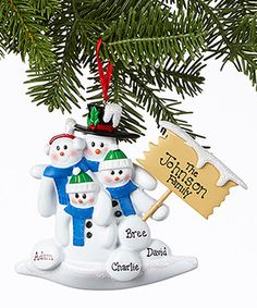 Love this Snowman Four-Person Family Personalized Ornament by Treasured Ornaments on #zulily! #zulilyfinds