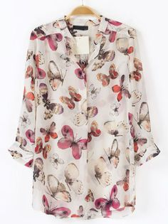 White Long Sleeve Butterfly Print Blouse - cute with leggings and boots! Beautiful Outfits, Cute Outfits, Blouse Online, Shirts Online, Butterfly Print, White Butterfly, Butterfly Pattern, White Long Sleeve, Mode Style