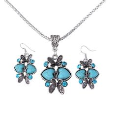 Fashion Turquoise Heart Butterfly Shape Drill Decor Earrings Necklace Women Ladies Jewelry Sets