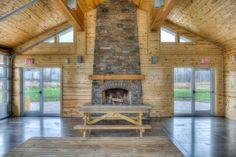 Lake Erie Bluffs - Lane Road shelter inside view with fireplace