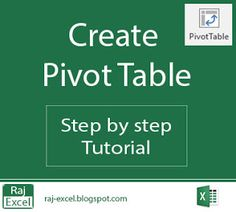 Raj Excel: Create a Pivot Table