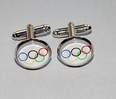 Olympic rings cufflinks jewelry Olympic games sports #Handmade