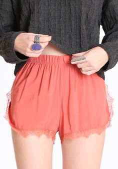 Cynthia Lace Trim Shorts in Coral  $29.00