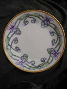 Art Nouveau hand painted plate. China Marked D & C France. Antique Vintage Porcelain. Violets.